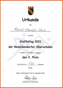 Urkunde Staffeltag 2021